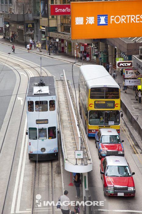 亚洲,香港,交通,街景,当当车,出租车,