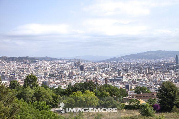 巴塞罗那,西班牙,欧洲,城市,城市远景,风景,远眺,室外,白天,彩图,影像