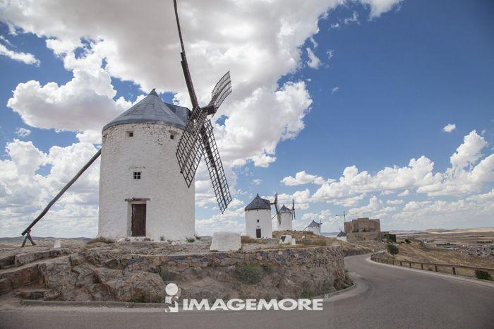 拉曼查,西班牙,欧洲,风车,道路,