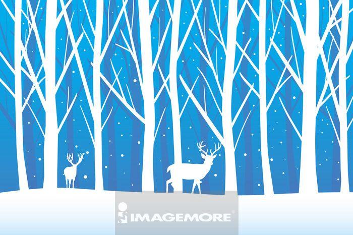 插画和绘画,驯鹿,树林