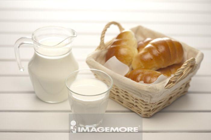 牛奶,早餐,面包