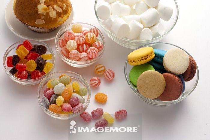 马卡龙,糖果,棉花糖,杯子蛋糕,甜点