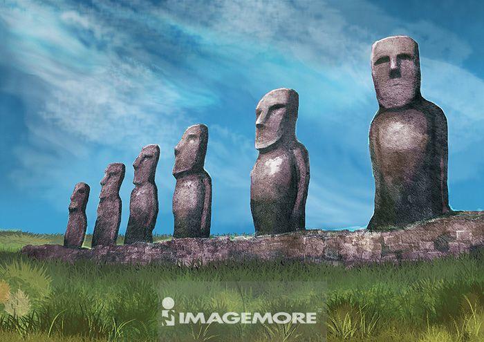 智利,复活节岛,摩艾雕像,