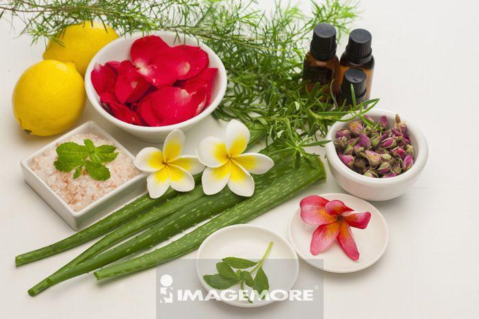 精油,香草,鸡蛋花,玫瑰盐,柠檬,迷迭香,芦荟,甜菊,薄荷,茶树,玫瑰花瓣,