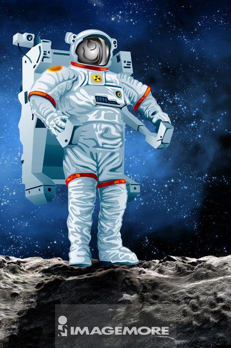 电脑绘图,插画,宇航员,数码合成,宇宙