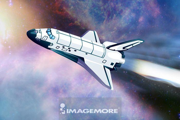 电脑绘图,插画,航天飞机,数码合成,宇宙