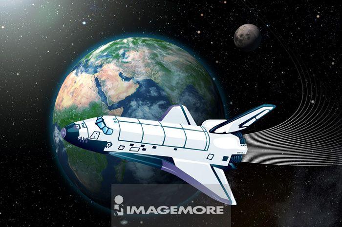 电脑绘图,插画,航天飞机,数码合成,地球