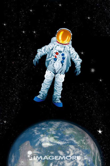 电脑绘图,插画,宇航员,数码合成,地球,宇宙
