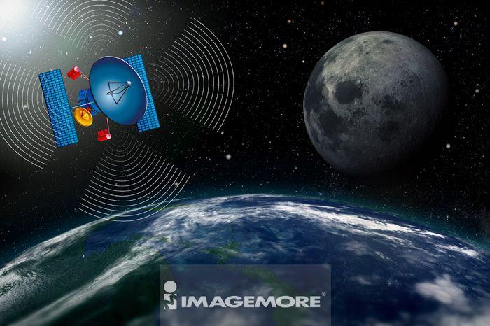 电脑绘图,插画,卫星,数码合成,地球,宇宙