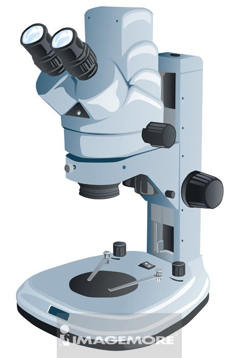 插画,解剖显微镜,显微镜,
