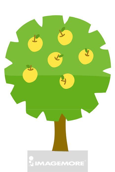 苹果树,树,彩图,电脑绘图,doubleview series,插画,白背景,插画和绘画