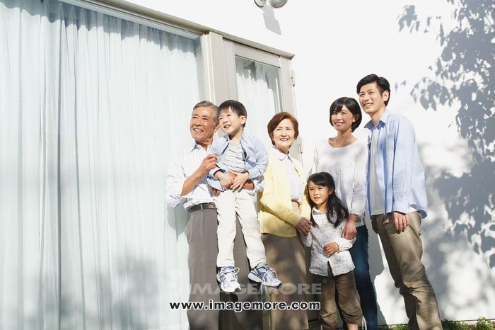 Three-generation Japanese family,