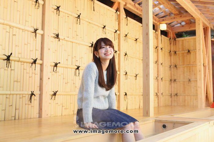 Young Japanese woman enjoying foot spa in Kawagoe, Japan,