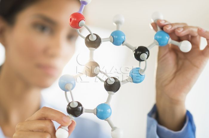 Hispanic scientist examining molecular model