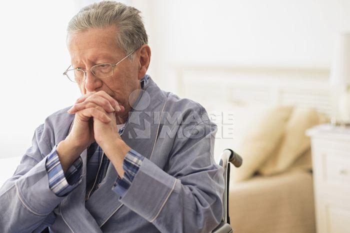 Senior Caucasian man sitting in wheelchair