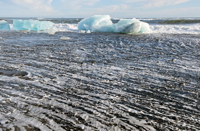Glaciers melting on arctic beach