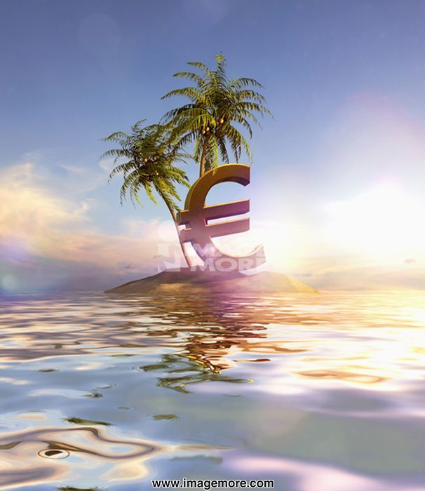 Large Euro sign beached on tropical island
