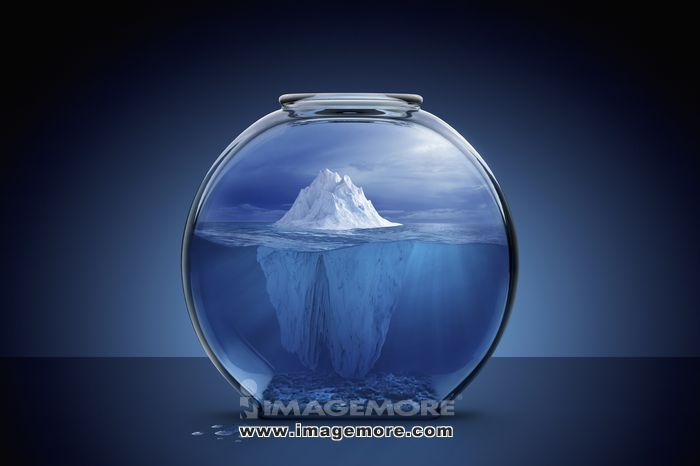 Glacier in fishbowl