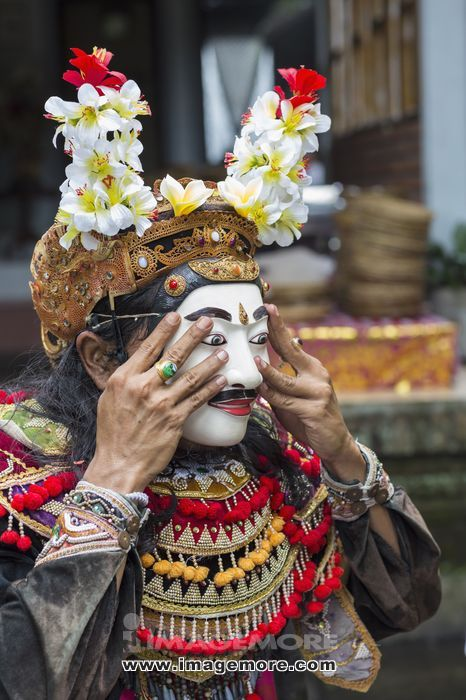 Balinese performer wearing mask and costume, Mas, Bali, Indonesia