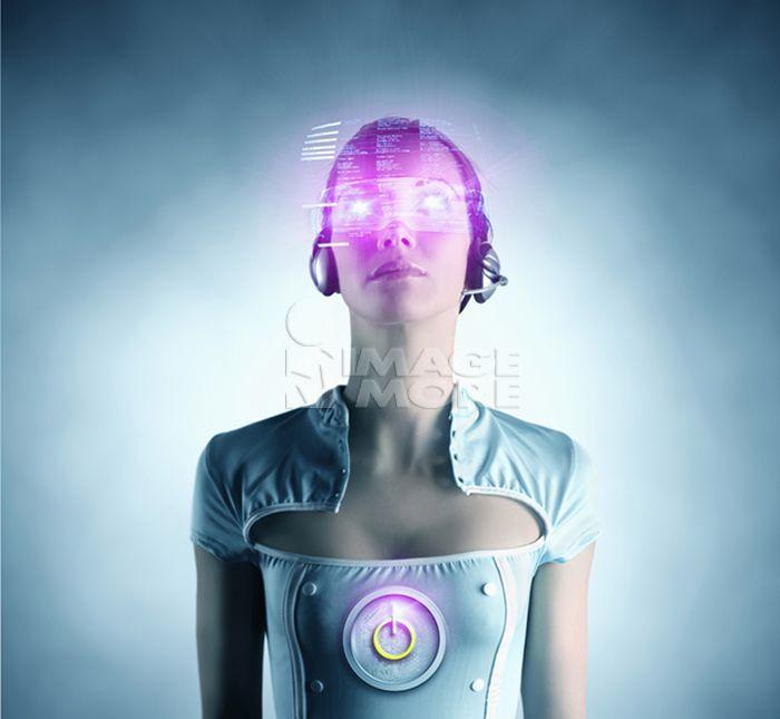 Futuristic Pacific Islander woman using digital screen
