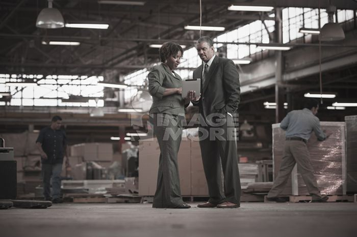 Black business people working in warehouse