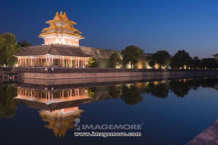 北京,北京故宫,故宫博物院,角楼,夜景,