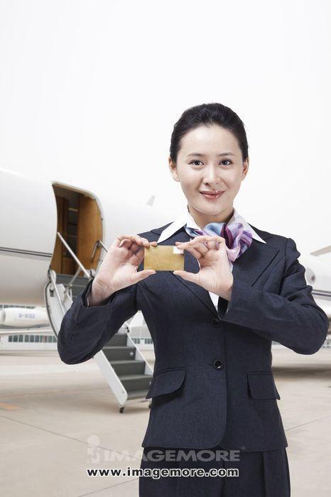 商务女士和私人飞机