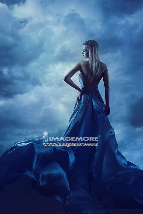 Woman Back Portrait in Evening Dress, Lady in Silk Gown, Cloth Flying over Blue Sky, Night Clouds,