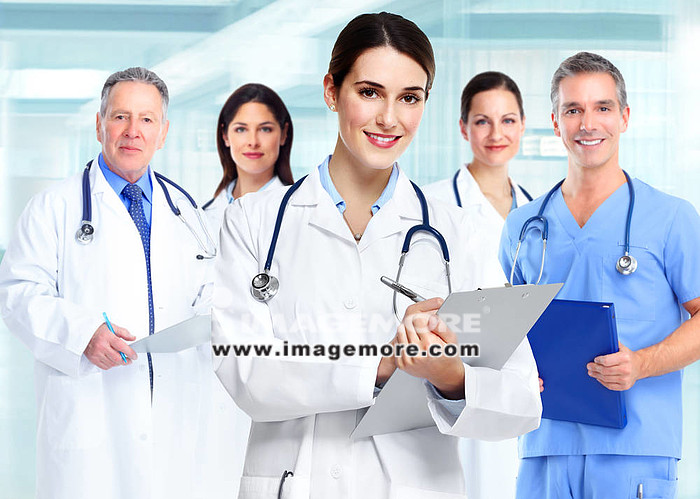 Medical doctor  woman and group of business people.,