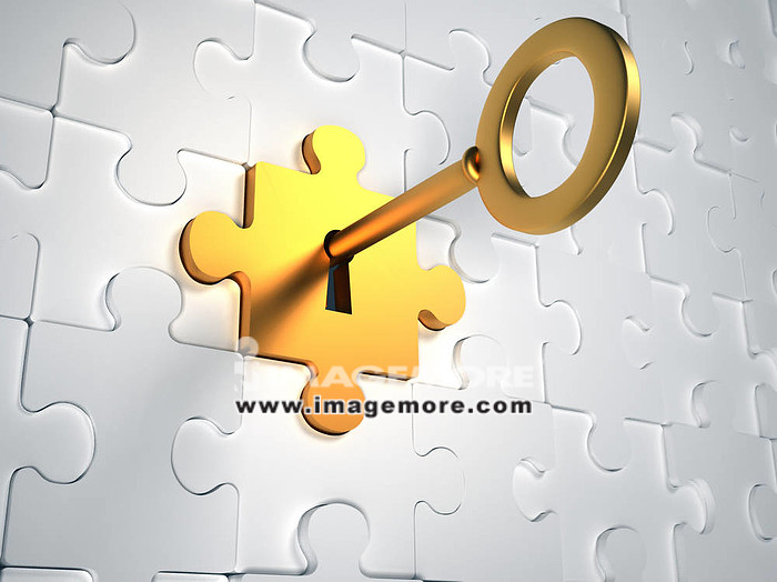 Golden key and puzzle pieces - 3d render illustration,
