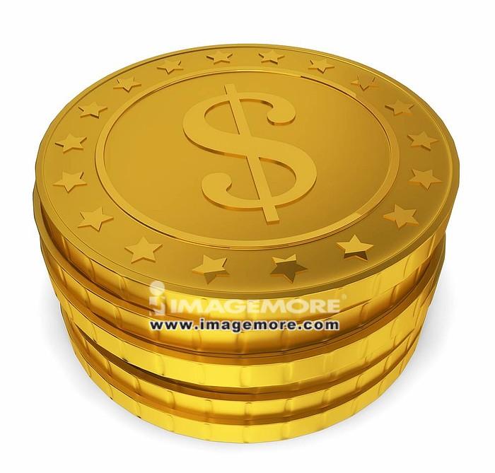 Stack of golden coins. 3d illustration on white background ,