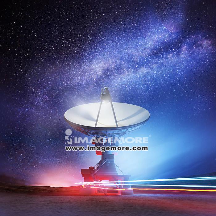 A radio telescope pointing upwards into the night sky. Astronomy background. Illustration.,
