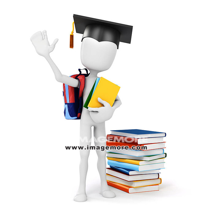 3d man holding some books, education concept,