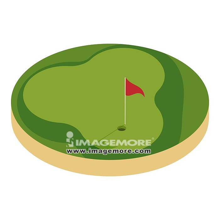 Golf course icon. Cartoon illustration of golf course  icon for web design,