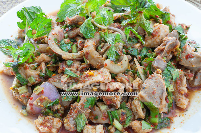 thai food spicy minced chicken salad,
