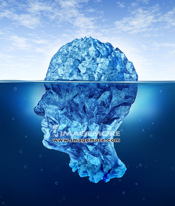 Human brain risks with an iceberg in the shape of a head partialy submerged in the cold arctic ocean as a health care medical symbol for hidden neurological and