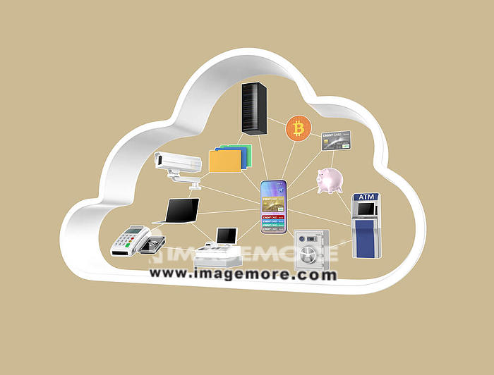 Financial cloud technology concept. 3D rendering image.,