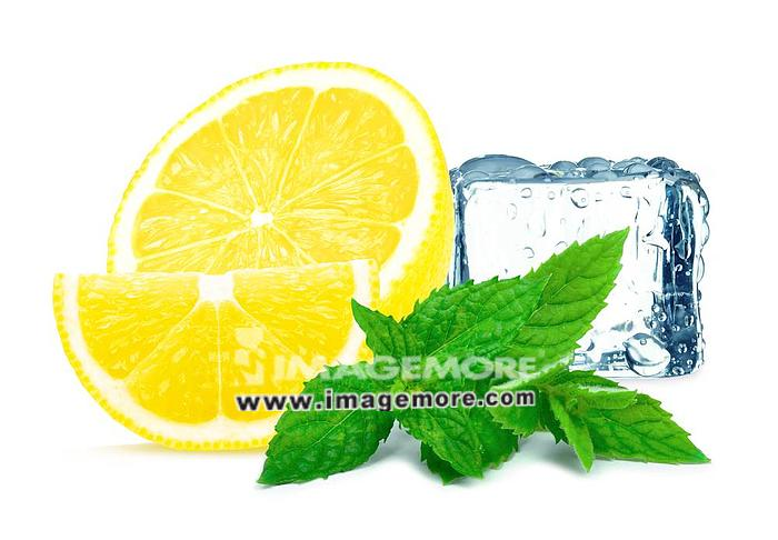 with lemon with mint and ice cube isolated on white background,