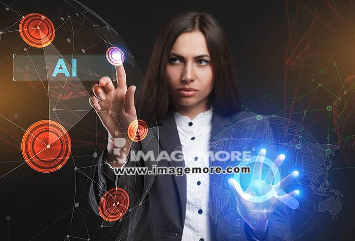The concept of business, technology, the Internet and the network. A young entrepreneur working on a virtual screen of the future and sees the inscription: AI,