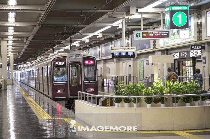 地铁,有轨电车,车站,梅田, 大阪,日本,亚洲,