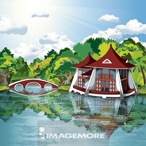 台中,台中公园,台湾,插画,