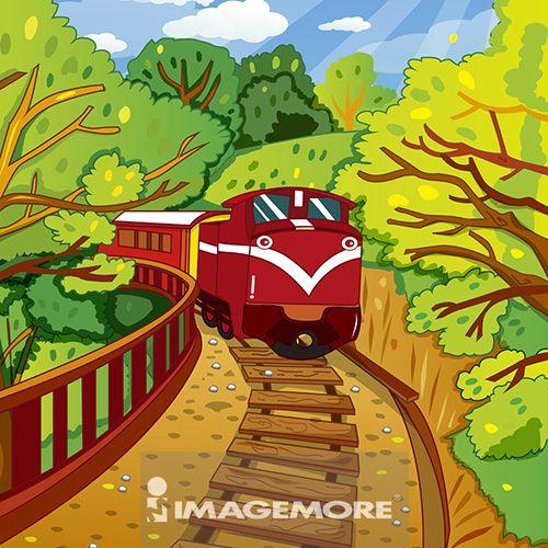 嘉义,阿里山,火车,台湾,插画,