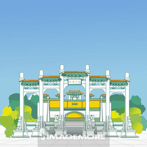 台北,故宫博物院,台湾,插画,
