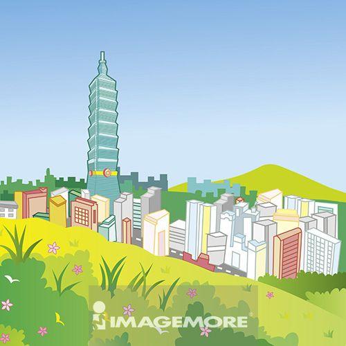 台北,台北101,台湾,插画,