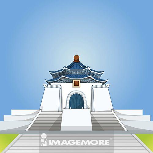台北,中正纪念堂,台湾,插画,