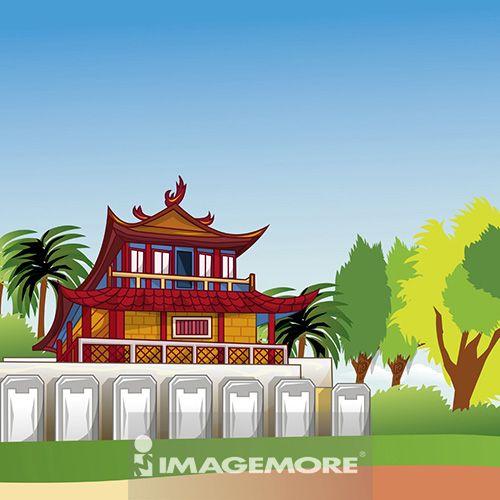 台南,赤崁楼,台湾,插画,