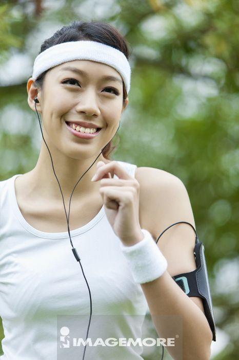 慢跑,青年女人,运动