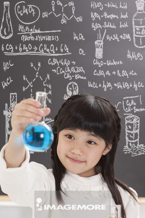 女孩,科学实验,儿童