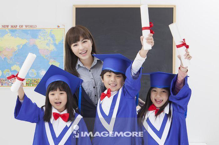 儿童,毕业,