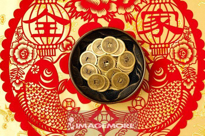 铜钱,货币,古钱币,年年有余,